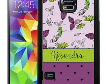 Personalize Rubber Case For Samsung Note 3, Note 4, Note 5, or Note 8- Purple Lime Flowers