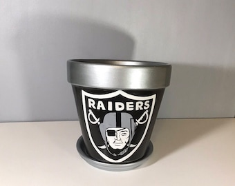 Raiders~Hand Painted Clay Pot~NFL Raiders Planter
