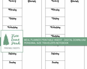 Meal Planner Printable TN Insert - Personal Size