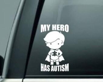 2 pcs AUTISM Awareness choose your size my superhero car bumper Sticker Decal  Window truck locker helmet