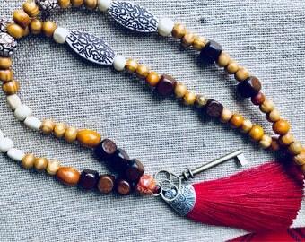 Mala Necklace, 108 bead mala necklace, mala beads, yoga necklace, yoga jewelry, mindfulness, meditation, yoga, boho jewelry, fortitude
