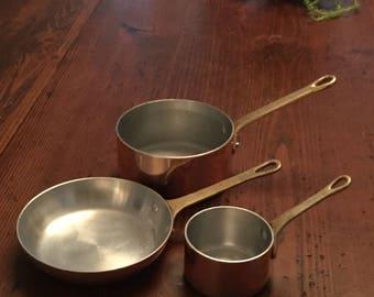 Vintage French Copper Miniature Sauce Pans, Brass Handles