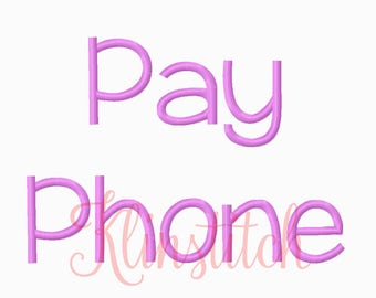 50% Sale!! Pay Phone Font Embroidery Fonts 3 Sizes Fonts BX Fonts Embroidery Designs PES Fonts Alphabets - Instant Download