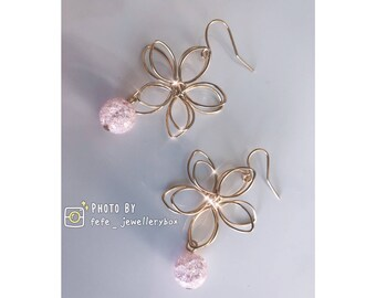 Gold Plated Floral Crystal Bead Earrings