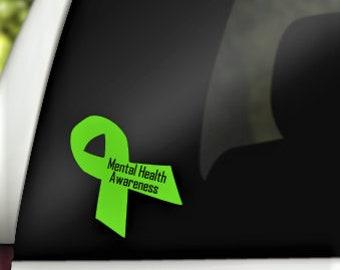 Mental Health Awareness Ribbon Car Decal/Green Awareness Ribbon Decal