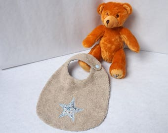 Towel Liberty Adelajda blue, and fabric baby bib Terry linen star pattern