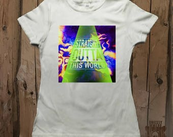 Straight Outta This World Galaxy Outerspace Vibrant Graphic Tee Shirt by Grizzly Where
