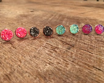 12 mm faux druzy stud earrings