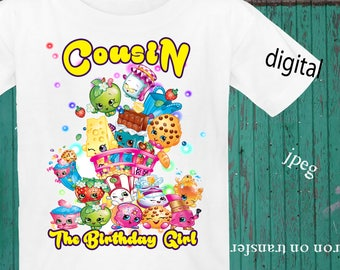 INSTANT DOWNLOAD, Shopkins Iron On Transfer, Shopkins Birthday Shirt, Shopkins Transfer, Shopkins Party, JPEG, Cousin