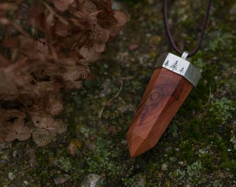 Unisex wooden pendant - Faceted solid wood pendant - Engraved sterling silver pendant - Boho crystal shape pendant