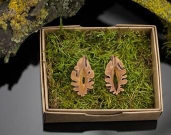 Organic earrings - Peach pit slices earrings - Contemporary wooden earrings - Silver stud earrings - Boho earrings