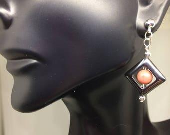 Rhodonite in Hematite Earring