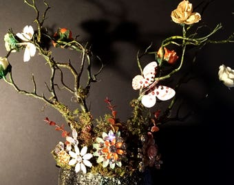Dryad's Dream, fairy, Faerie, Mother Nature costume, Halloween, festival, crown, head piece, limbs, moss, butterflies, crown