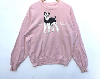 Rare!! Karl Helmut Sweatshirt big logo  soft pink colour Spell Out Pull Over big embroidery