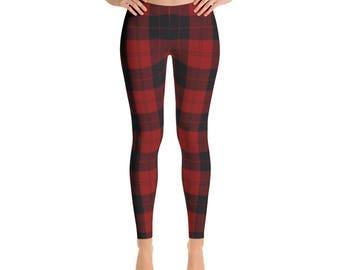 Red Black Plaid Leggings - Womens Leggings - Workout Leggings - Yoga Leggings - Plaid Leggings