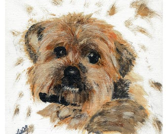 Yorkshire Terrier, Yorkie, Dog portrait, limited edition giclee print of acrylic painting