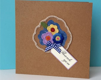 Handmade Thank you card with crocheted flowers