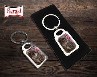 Cat key chain, Photo Key chains, Sublimation Key chains, pet photo Key chains