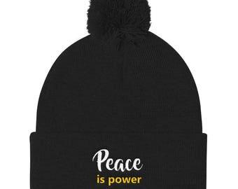 Peace is power Pom Pom Knit Cap