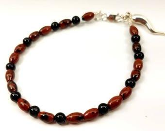Black Onyx and Red Jasper Bracelet