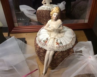 Stunning German Porcelain Half Doll Pincushion Ballerina with Legs