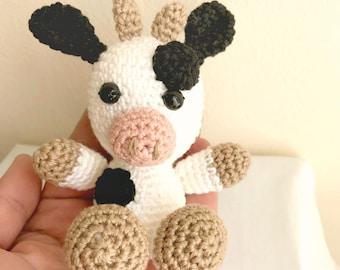 Crochet animal- Amigurumi toy- Amigurumi animal- Crochet cow- Stuffed cow- Stuffed animal- Crocheted animal- Baby cow- Amigurumi cow