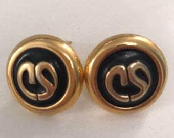 Genuine St John Navy Clip Earrings
