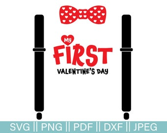 Valentine's Day Cut File, Vday SVG Cut file, My First Valentine's Day Bow Tie and Suspenders With Hearts PNG, JPEG, Dxf, Pdf