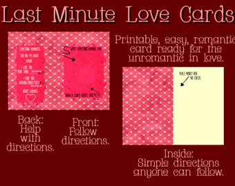 DIY / Valentines / Romantic Card Help for the Unromantic / Funny Love Card / First Anniversary Card / Last Minute Love