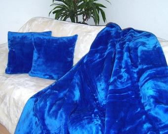 Top offer! 3 piece set, 1 bedspread 200 x 160 + 2 pillowcases 40 x 40 dark blue