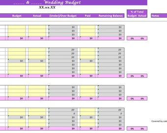 wedding budget excel templates