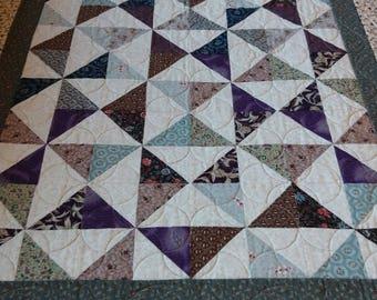 Handmade Pieced Patchwork Cotton Tan Green Purple Navy Brown Quilt Throw Lap Robe