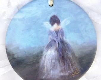 """Angel Ornament; ANGEL WHISPER, elegant matte bisque finish Porcelain Ornament, large size 3 3/4""""!"""