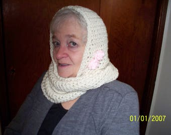 Beige Hooded Cowl With  2 Small Accent Roses in Pink