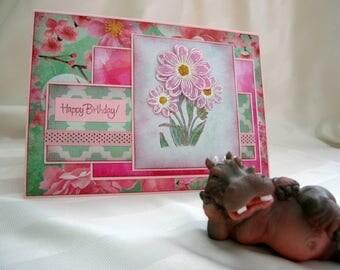 happy birthday card,handmade card,greeting card,daisy birthday card,floral birthday,3-D birthday flowers,pearls birthday card blank birthday
