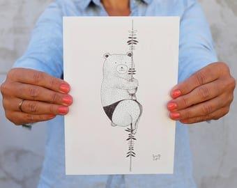 Bear illustration on vine, ink, black and white, A5