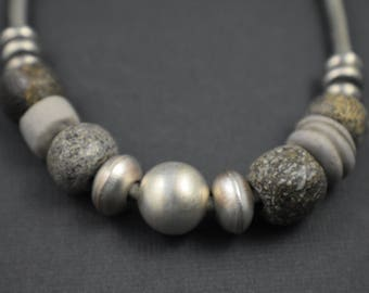 Necklace-Unique elegant earthy tones and silver