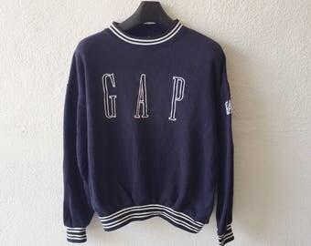 Vintage Gap Big Spellout Embroidery Sweatshirt Gap sweater crewneck Pullover Jumper Size M Blue Colour