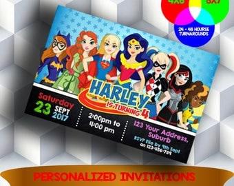 Superhero Girls Invitation, DC Superhero Girls Invite, DC Super Hero Girls Birthday Invite, Super Heroes Party Card, Wonder Woman Invitation