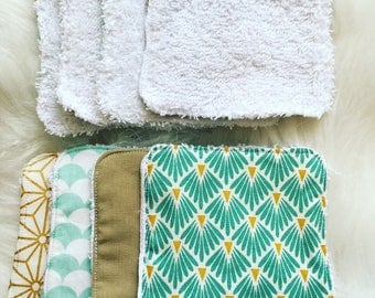 Set of 4 wipes washable cotton and cotton Terry