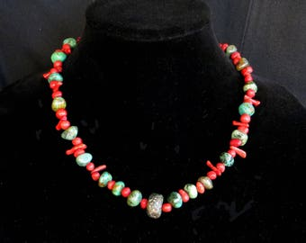 Necklace of Tumbled Turquoise and Branch and Natural Tumbled Coral Beads