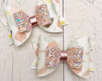 Pastel floral fabric & glitter Medium hair bow clip headband hair accessories nylon hair piece