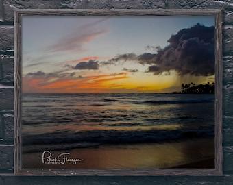 Poipu Beach Sunset: Kauai, Hawaii Photo Print