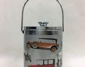 Mid century metal ice bucket with chrome lid with illustration of antique cars, Retro barware and bar accessory