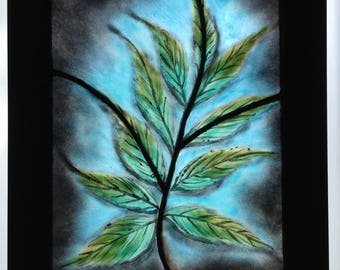 Kentucky Coffee Leaf fused stained glass leaded panel