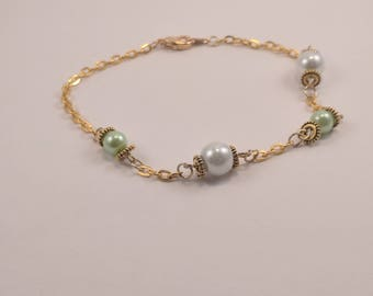 Gold Bracelet with White and Spring Green Pearl Beads