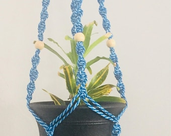 Blue Spiral Plant holder (Cotton Cord-4mm)