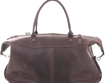 Brown Leather Travel Bag Cabin Baggage Leather Sport Bag Handmade Travel Bag Leather Weekend Bag Leather Duffel Gift for Him and for Her