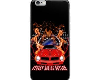Muscle car street racing through fire and lightning iPhone Case