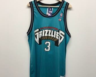 Vtg 1996 Shareef Abdur-Rahim Vancouver Grizzlies Signed Champion Jersey